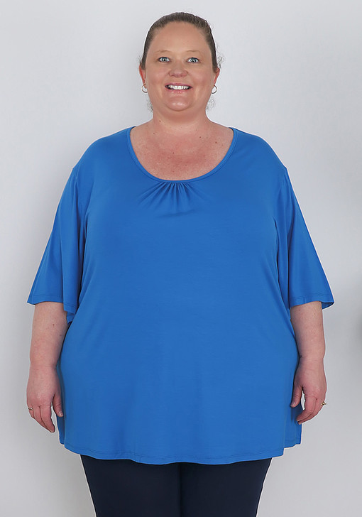 Plus Size Bamboo Blue Short Sleeve Top