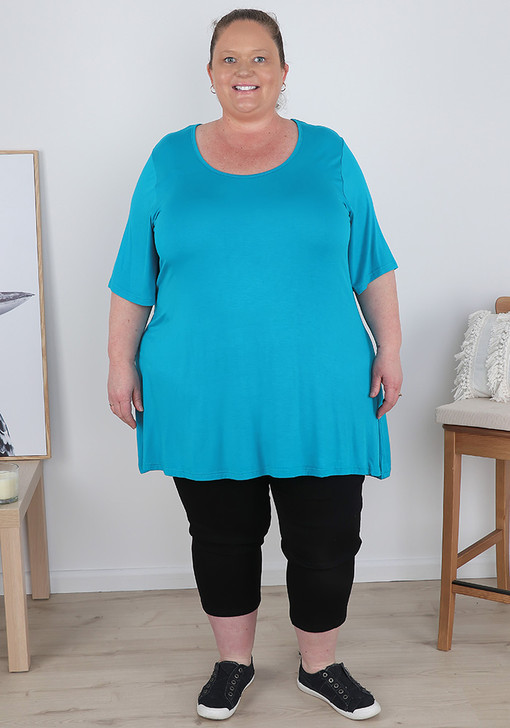 Plus Size Turquoise Short Sleeve Top
