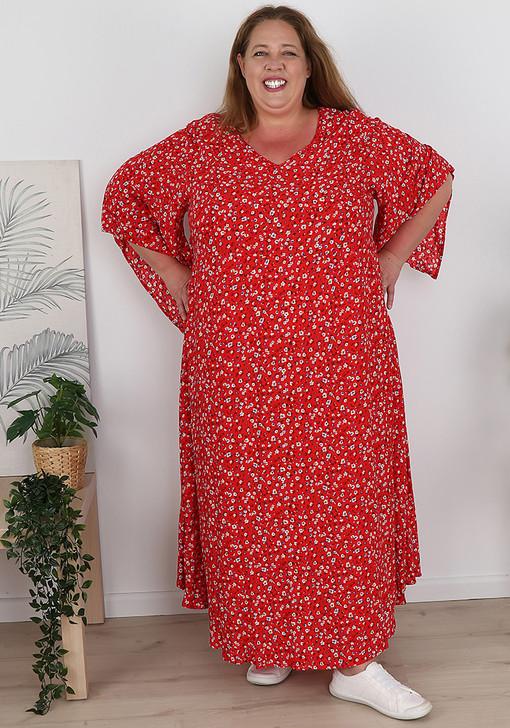 Plus Size Kaftan Style Black White Tiny Floral Dress