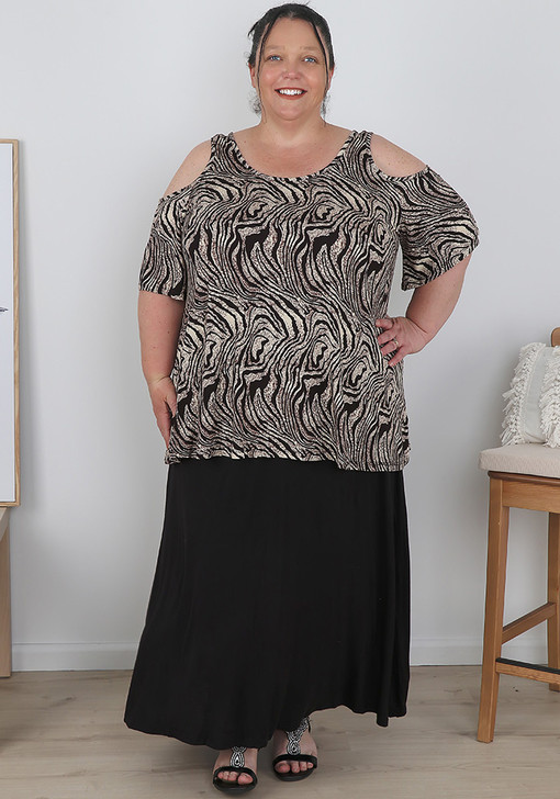 Plus Size Abstract Tiger Print Cold Shoulder Top
