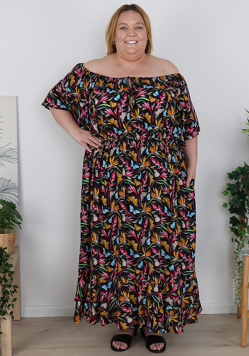 Plus Size Butterflies On Or Off The Shoulder Dress