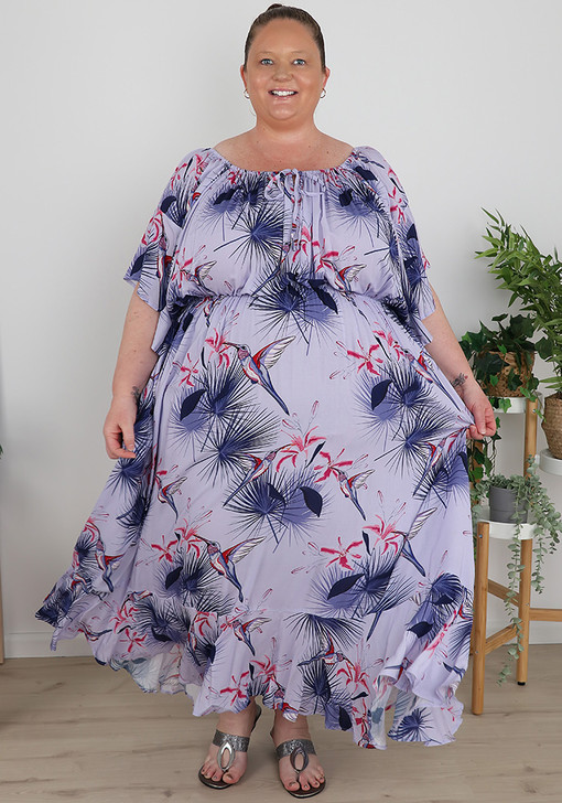 Plus Size Purple Hummingbird On Or Off The Shoulder Dress