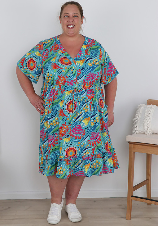 Plus Size Abstract Floral Fun In The Sun Dress