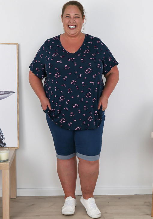 Plus Size Pull On Blue Denim Folded Cuff Shorts