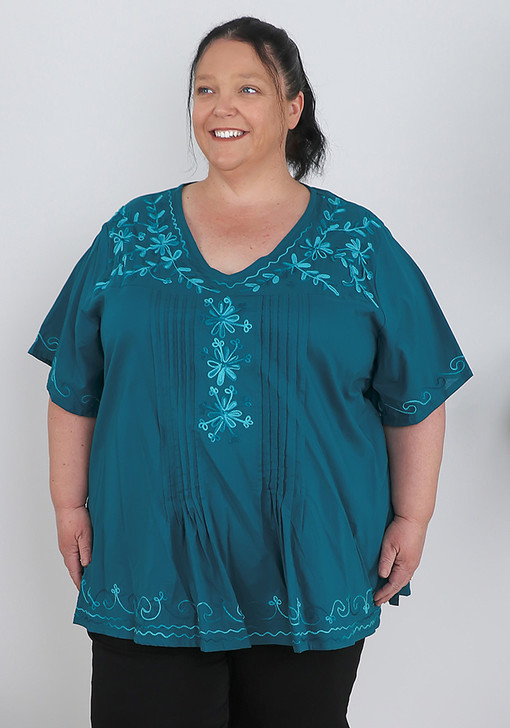Plus Size Teal Embroidery Cotton Top