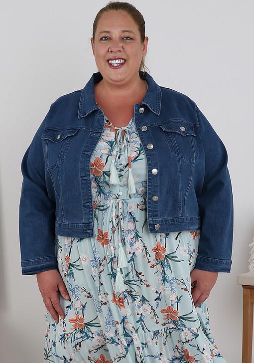 Plus Size Blue Crop Denim Jacket