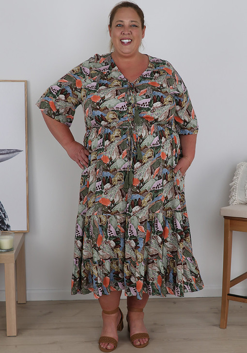 Plus Size Abstract Jungle Cheetah Day Dress