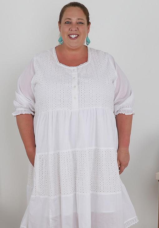 Plus Size White Cotton Tiered Dress