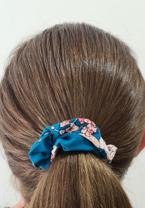Teal Floral Scrunchie
