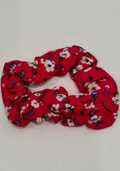 Red Floral Scrunchie