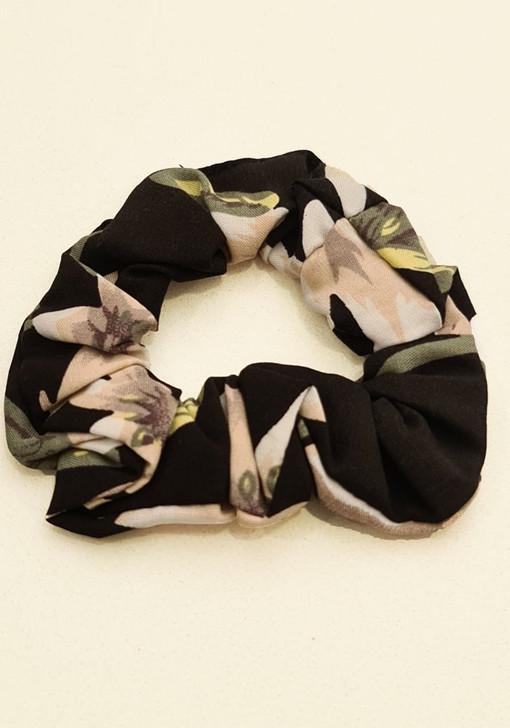Black Pink Floral Scrunchie