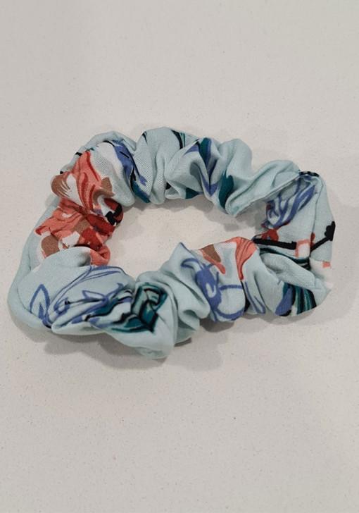 Mist Blue Floral Scrunchie