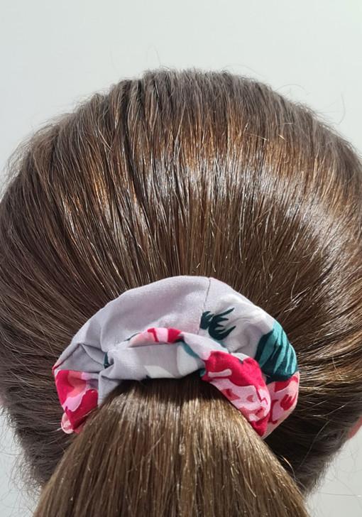 Grey Pink Scrunchie