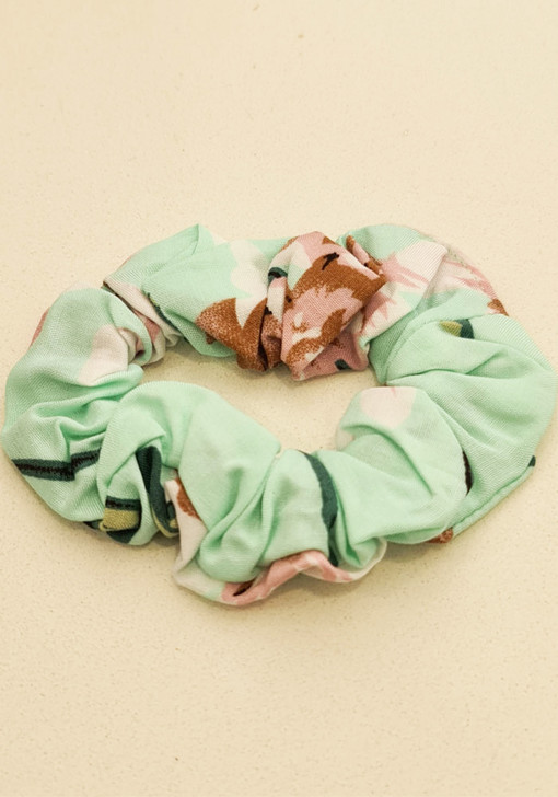 Mint Pink Floral Scrunchie