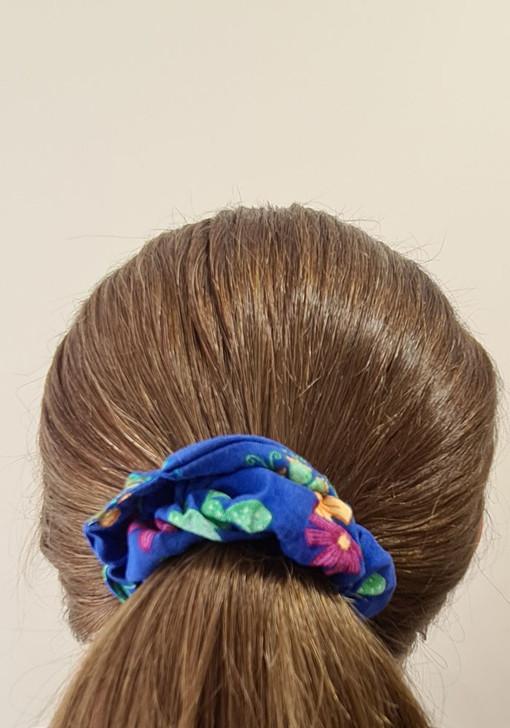 Blue Flower Cactus Scrunchie