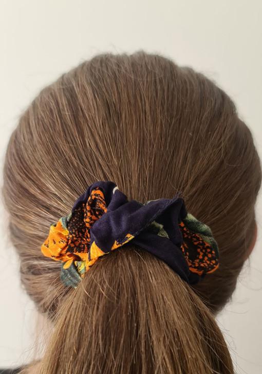 Navy Sunflower Scrunchie