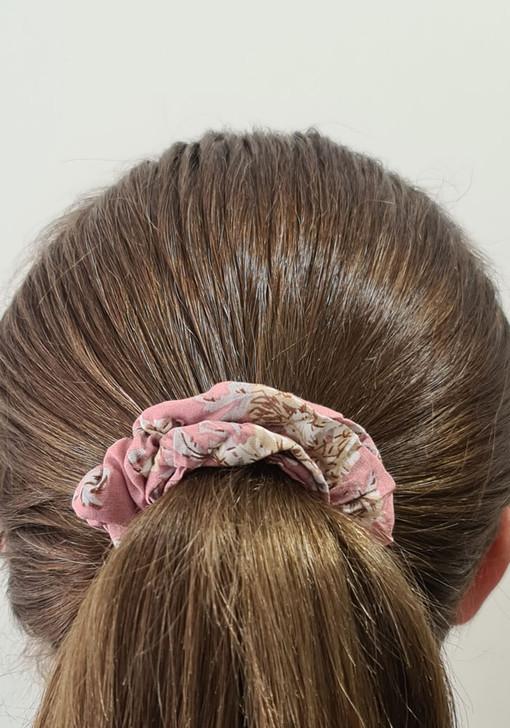 Pink Neutral Floral Scrunchie