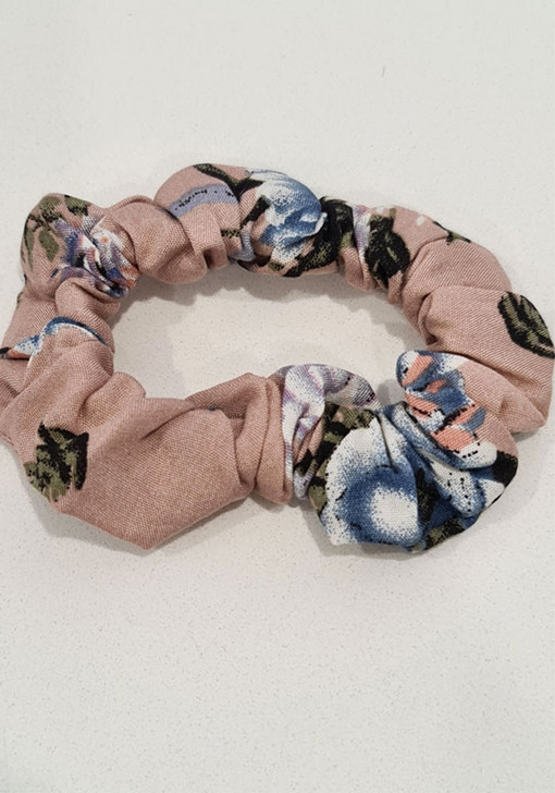 Neutral Blue Floral Scrunchie