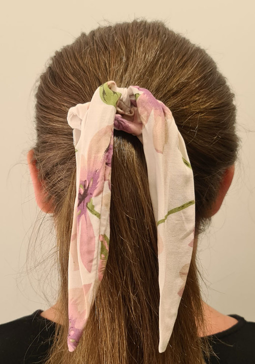White Purple Scrunchie With Tail