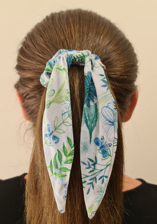 Blue Butterfly Dragonfly Scrunchie With Tail