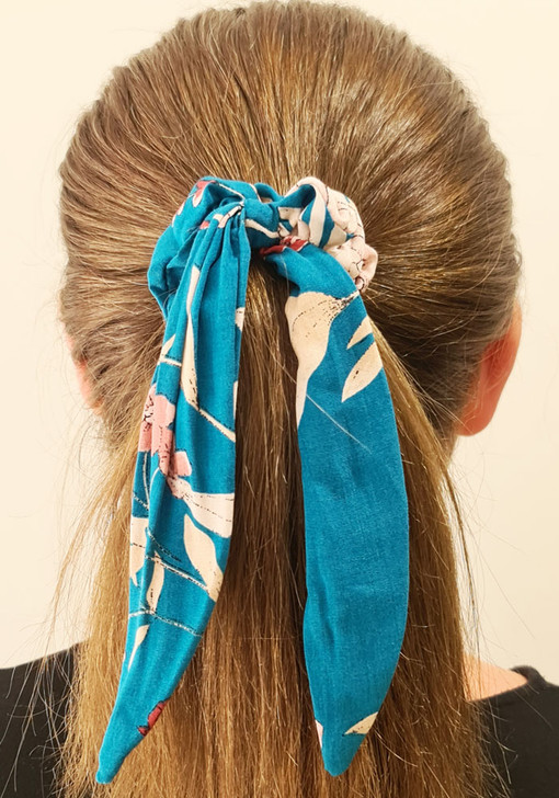 Teal Floral Scrunchie With Tail