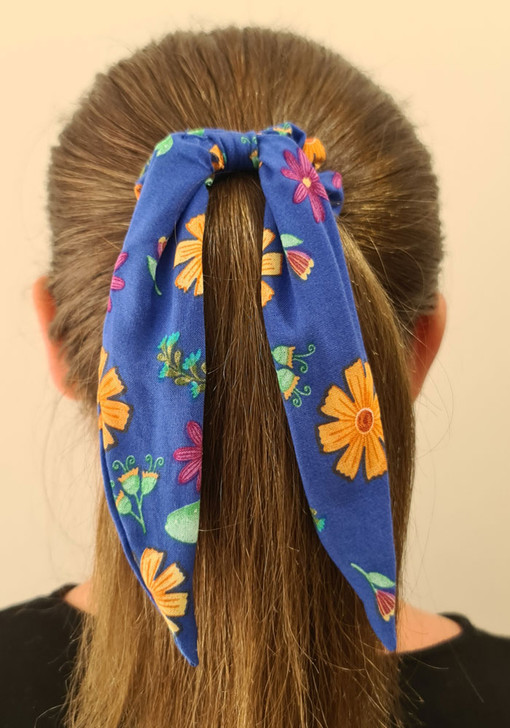Blue Floral Cactus Scrunchie With Tail