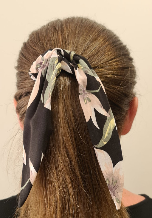 Black Pink Floral Scrunchie With Tail