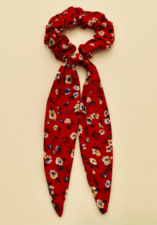 Red Floral Scrunchie With Tail