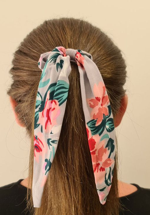 Grey Pink Scrunchie With Tail