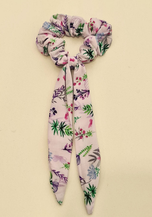 Lilac Floral Scrunchie With Tail