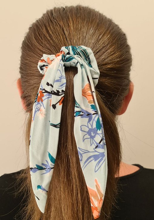 Mist Blue Floral Scrunchie With Tail