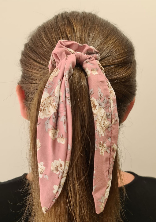 Pink Neutral Floral Scrunchie With Tail