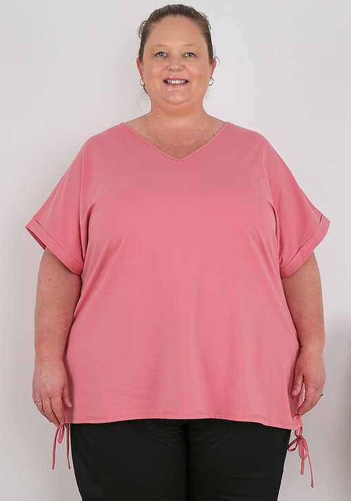 Plus Size Pink Cotton Top With Tie Sides