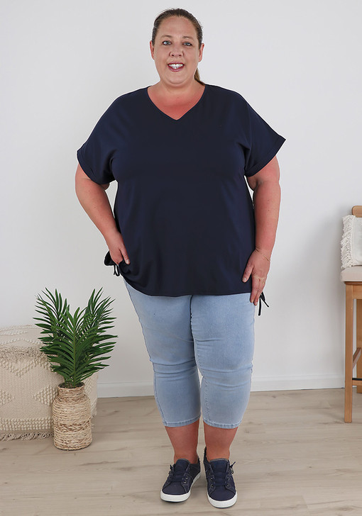 Plus Size Navy Cotton Top With Tie Sides