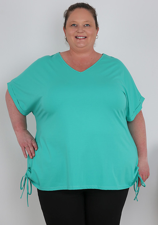 Plus Size Turquoise Cotton Top With Tie Sides