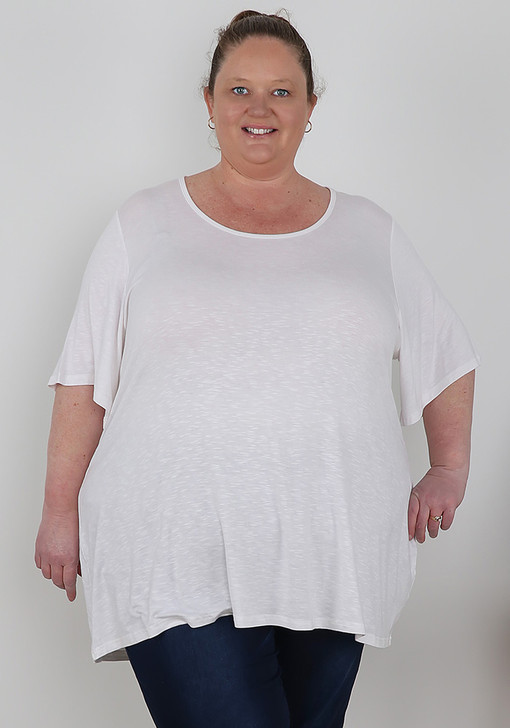 Plus Size White Casual Comfort Tee