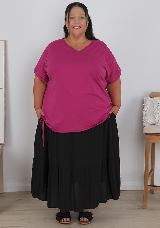 Plus Size Raspberry Cotton Top With Tie Sides