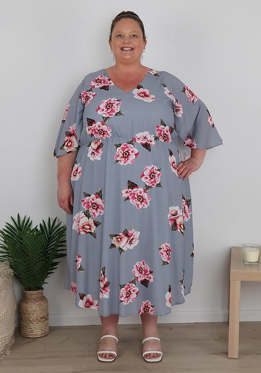 Plus Size Grey Pink Floral Midi Dress