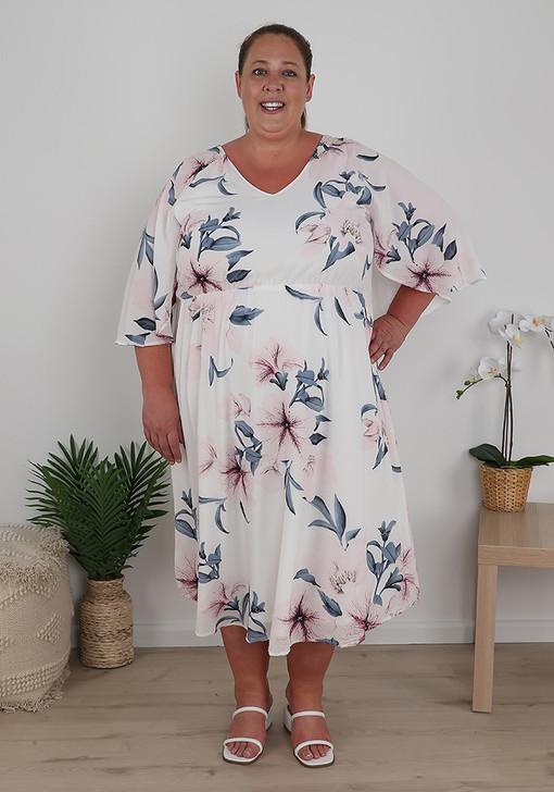 Plus Size White Pink Floral Midi Dress