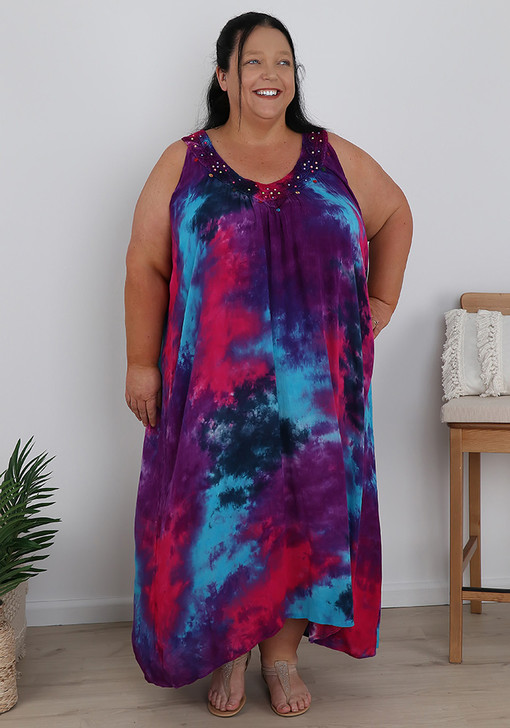 Plus Size Red Blue and Purple Sequins Tie Dye Dress