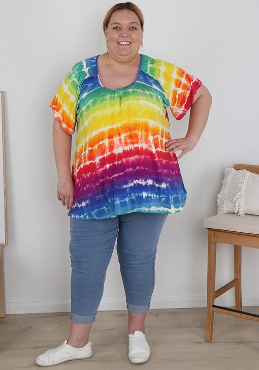 Plus Size Pull On Mid Blue Denim Boyfriend Jeans