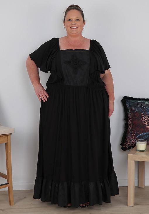 Plus Size Square Neck Black Maxi Dress