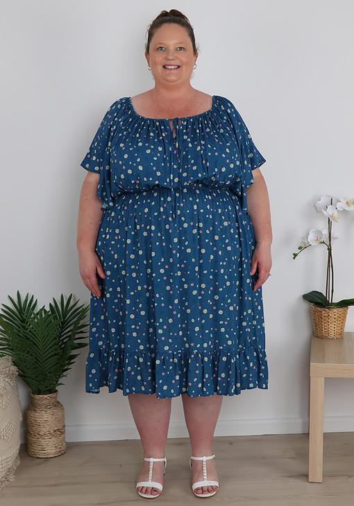 Plus Size Blue Daisies Floral Dress
