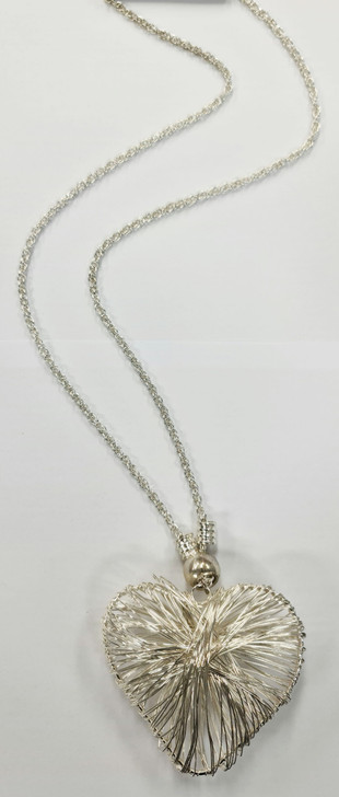 Silver 3D Heart Necklace