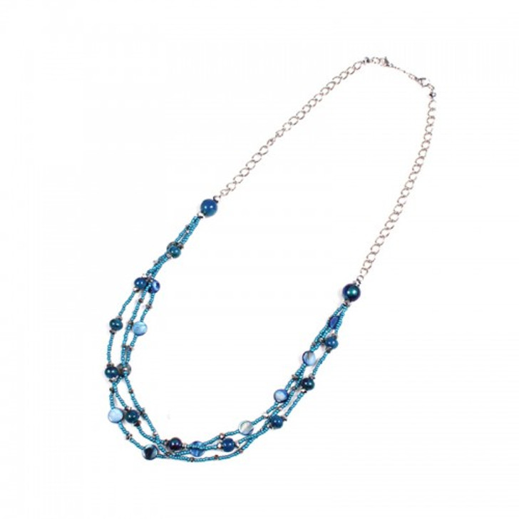 Multi Strand Peacock Blue Necklace
