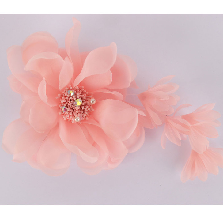 Apricot Pastel Flower Crystal Fascinator
