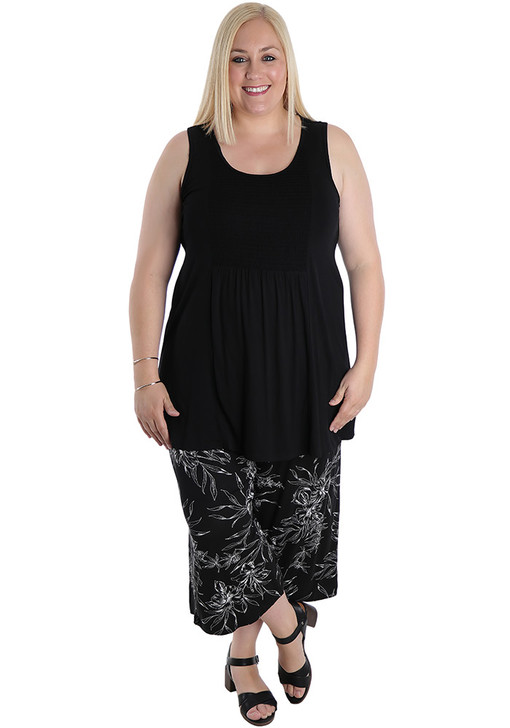 plus size black white floral pants