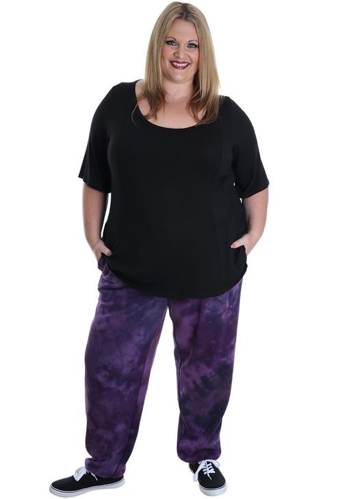 plus size purple tie dye track pants