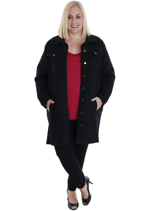 plus size long black denim jacket