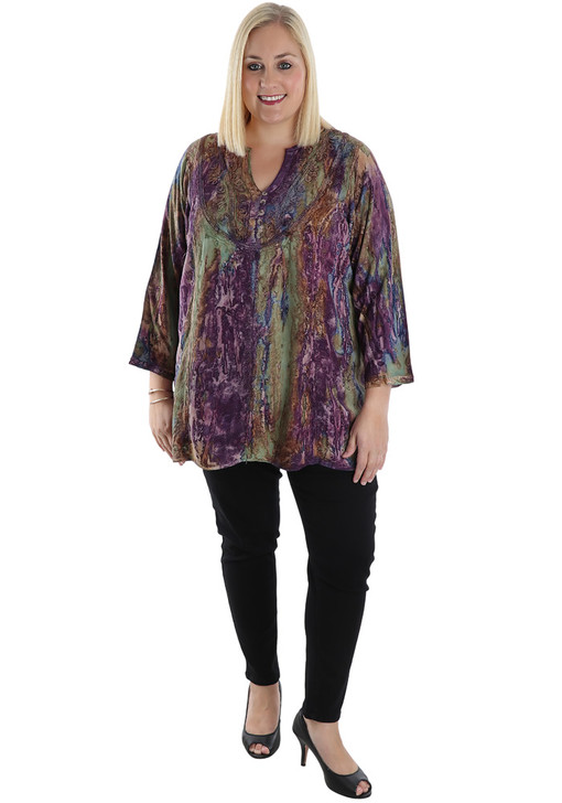 plus size purple acid wash top